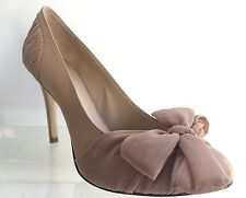 NINE WEST Women Tan Taupe Leather Bow Heels Shoes Size 7.5