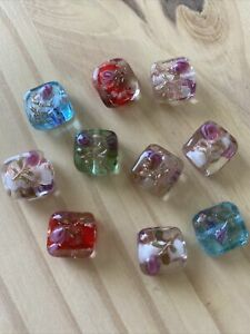 10 MULTICOLOR FLAT SQUARE With BUMPY FLOWERS 12-13mm  lampwork Glass Beads