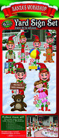 Christmas North Pole Santa's Workshop 6-Pc Elf Yard Signs Stakes Decoration Set