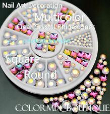 #R29  3D Bijoux ongles strass à facettes cristal déco nail art tip manucure