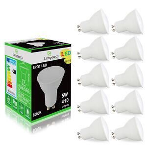 Pack de 10 Ampoules Led GU10 5W eq. 50W Halogène  Blanc Froid 120°