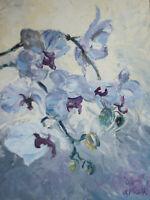 """Malerei Gerry Miller """"Orchideen"""" Öl Bild auf Papier.(Unikat) 30x40cm"""