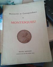 Manuscrits et Correspondance de Montesquieu. Hôtel Drouot. Vente du 23 fév. 1939