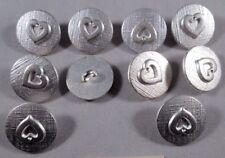 Metall  Knopf Knöpfe 10 stück  silber Herz     17,5 mm     #154#