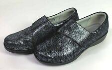 Alegria Lauryn Pewter Tread Leather Cross Strap Slip on Shoes Size 41 EUC