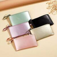 Mini Thin Women Ladies Wallet Coin Purse Card Holder Zipper Pearlescent Pouch!