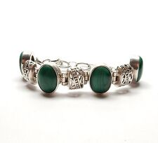 Vintage 925 Silver LARGE OVAL MALACHITE SET PATTERNED TOGGLE BRACELET 38g 7.5""