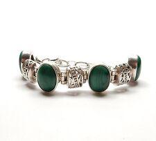 """Vintage 925 Silver Oval Malachite Fancy Link Toggle Fastening Bracelet 38g 7.5"""""""