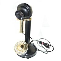 New Black & Brass Candle Stick Type Telephone, Old Vintage Antique Style