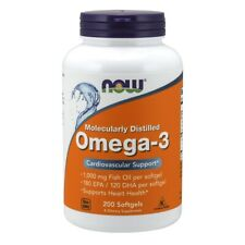 NOW Foods Molecularly Distilled Omega-3 Fish Oil 1000 mg 200 Softgels, FRESH