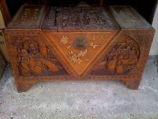 More details for chinese camphor wood carved trunk / chest with i think? mother of pearl figures
