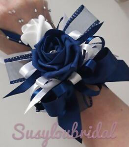 Navy & White Wrist Corsage Wedding Bridal Bridesmaid Tie Up Ribbon