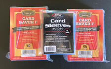 100 Card Saver 1 AND 100 SLEEVES Cardboard Gold / 2 - 50 Ct Holders 100 Sleeves