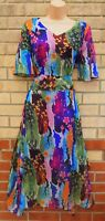 FLORAL ABSTRACT ART SHORT SLEEVE SILKY FEEL FLIPPY A LINE MIDI BOHEMIAN DRESS 10