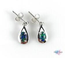 Genuine Australian Opal Earrings 6x4mm 925 Sterling Silver Rain Drop / Jewelry