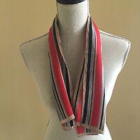 Vintage Echo Colorful Striped Long 15 x 34 Silk Scarf