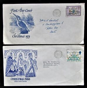 1970's FDC 2 Xmas tatty but unusual Covers