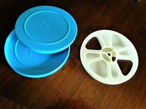 (1) *NEW* Super8 400' REEL & CAN SET PLASTIC (WHITE/BLUE)