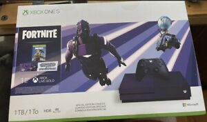 BOX ONLY Xbox One S Fortnite Royal Purple  - WITHOUT CONSOLE - FOR DISPLAY ONLY!