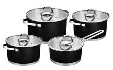 8 Piezas Juego de Ollas Acero Inoxidable Negro Novigo Batería Cocina