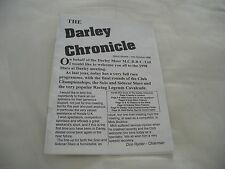 SIDECAR RACING/ MOTOR CYCLE DARLEY CHRONICLE ISSUE 7 OCTOBER 1998 BOOKLET