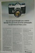 1970 Pentax advertisement, Pentax Spotmatic 35mm camera, Honeywell