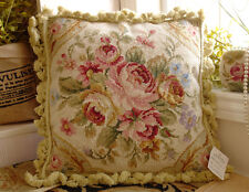 "16"" French Country Chic Shabby Light Tone Handmade Needlepoint Pillow Cushion"