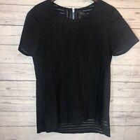 J.Crew Womens 00 Black Sheer Striped Short Sleeve Blouse Top