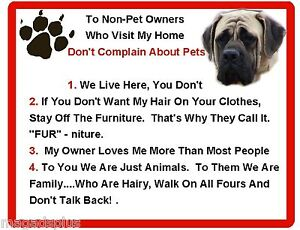 Funny Dog English Mastiff House Rules Refrigerator / Magnet Gift Card Idea