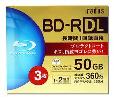 3 Radius Bluray DVD Discs 4x 50GB BD-R DL Blank BD's Inkjet Printable Bluray tdk