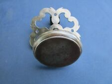Grosse poignée ronde rosace ouvragée fer forgé ancienne diamètre 6,6 cm