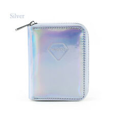 Stylish Shiny Leather Hologram Laser Wallet Metallic Color Clutch Coin Purse Silver