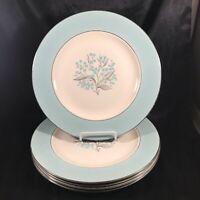 "Set of 5 Vintage Mid Century SEVRON BLUE LACE 10-1/4"" Dinner Plates"