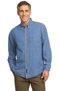 Railroad Denim shirts with front logo L.S. or S.S. Dark Denim or Light denim