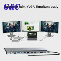 12 In 1 Type-C Laptop Docking Station USB 3.0 HDMI 4K VGA PD USB Hub For MacBook