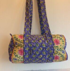 Maggi B Duffel Bag Purse Tote Periwinkle Purple Pink Green Yellow Floral MaggiB