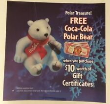 McDonalds Coca-Cola Polar Bear Christmas Translite. Free Shipping.