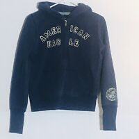 AMERICAN EAGLE hoodie Women's Size Small 1/4 Zip Up Logo Navy Blue