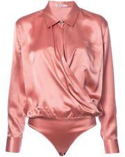 T by Alexander Wang Silk Long-sleeve Wrap-front  Bodysuit Blouse Top S-z 2