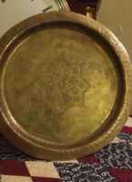 Handmade Hammered Brass Wall Decor Plate, Ornate Mandala Design