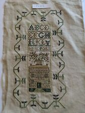 Handmade Cross Stitch Complete Sampler Green And Tan