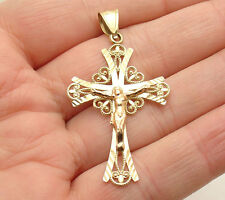 "2"" Diamond Cut Cross Crucifix Pendant Real 10K Two-Tone Yellow Rose Gold"