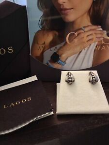 LAGOS Sterling Silver Caviar Fluted Half Hoop Earrings