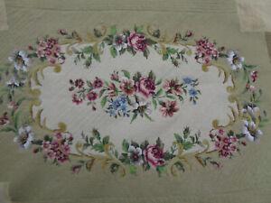 Vintage Handmade Needlework Needlepoint Petit Point Floral Tapestry Panel