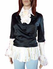 MOSCHINO Womens Vtg Evening Black Gloss Satin Crop Jacket Blazer sz 14 or L AL80
