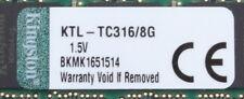 8 GB Kingston PC3-12800 RAM // KTL-TC316/8G // Low Profile