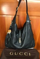 Gucci Soft New Jackie Handbag Black Leather Bamboo Tassel Whipstitch Hobo Bag