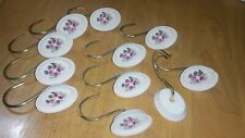 Shower Curtain Holder Hooks Purple Flower Ceramic Style 11 total Free Ship