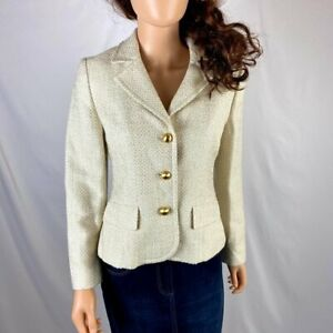Ann Taylor Women Blazer Suit Separate Jacket Ivory Gold Metalic Size 8 Petite 8P