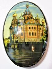 PIN HAND PAINTED LARGE OVAL RUSSIA SIGNED BUILDINGS CITY SCENE DETAILED COLORFUL